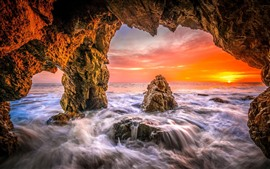 Preview wallpaper Sea, water, hole, sunset