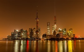 Preview wallpaper Shanghai, China, city night, skyscrapers, river, lights