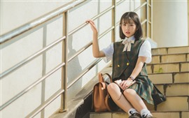 Preview wallpaper Short hair schoolgirl, ladder