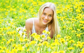 Preview wallpaper Smile blonde girl, yellow flowers, spring