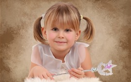 Preview wallpaper Smile cute little girl, magic wand