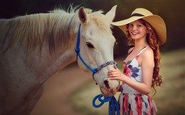 Preview wallpaper Smile girl, red hair, hat, horse