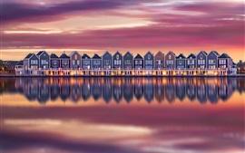 Algumas casas, rio, reflexão água, anoitecer, países baixos