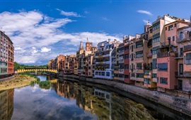 Preview wallpaper Spain, Catalonia, Girona, houses, river, bridge