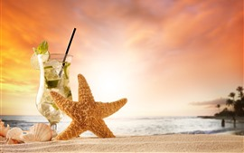 Preview wallpaper Starfish, mojito, drinks, sands
