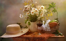Preview wallpaper Still life, flowers, table, hat, bread