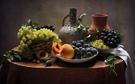 Ainda vida, frutas, uvas, pêssego, ameixas