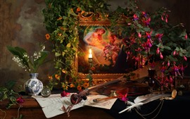 Preview wallpaper Still life, picture, flowers, candle, flame, violin