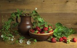 Preview wallpaper Still life, strawberry, vase, flowers, green leaves