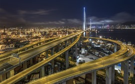 Preview wallpaper Stonecutters Bridge, Hong Kong, roads, night, city