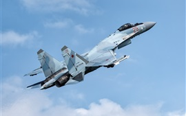 Su-35S fighter flight in sky