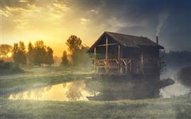 Preview wallpaper Summer, morning, forest, grass, pond, hut, fog