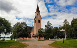 Sweden, Arjeplog, Church, trees, clouds