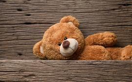Ursinho de pelúcia, placa de madeira