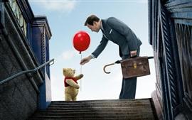 Aperçu fond d'écran Teddy, ours en peluche, ballon rouge, homme