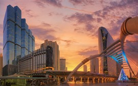 Aperçu fond d'écran Thaïlande, Bangkok, nuages, coucher de soleil, bâtiments