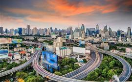 壁紙のプレビュー タイ、バンコク、高層ビル、道路、街の景色