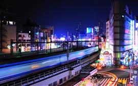 Tóquio, japão, cidade, noturna, luzes, trem, velocidade, encruzilhada