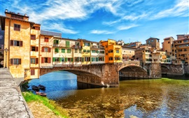 Preview wallpaper Travel to Europe, bridge, houses, river