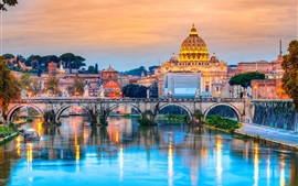 Travel to Rome, Italy, cathedral, river, bridge, dusk, lights