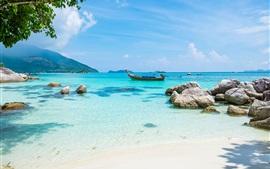 Preview wallpaper Tropics landscape, sea, beach, boat, summer