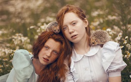 Preview wallpaper Two girls, red hair, freckles, hedgehogs