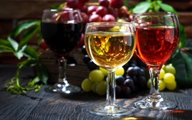 Preview wallpaper Two glass cups of wine, grapes