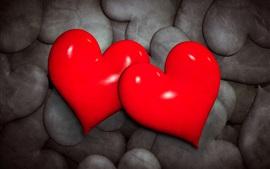 壁紙のプレビュー 2つの赤い愛の心、黒の背景