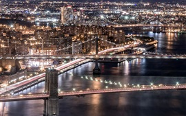Estados unidos de américa, brooklyn, manhattan, puente de williamsburg, ciudad, rascacielos, luces
