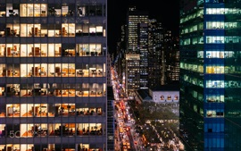 Preview wallpaper USA, New York, Manhattan, night, offices, lights, buildings