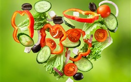 Preview wallpaper Vegetables slices, love heart, creative