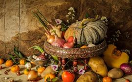 Овощи, натюрморт, тыква, помидоры, картофель, лук, апельсины
