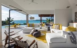 Preview wallpaper Villa, living room, sofa, sea