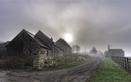 Preview wallpaper Village, road, houses, fog, morning