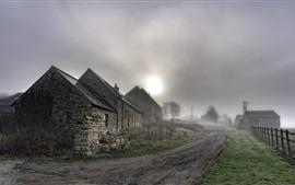 Pueblo, camino, casas, niebla, mañana