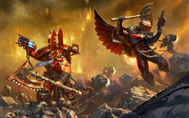 Preview wallpaper Warhammer 40000, two warriors in battle