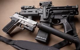Оружие, пистолет, пистолет, глушитель