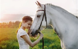 Preview wallpaper White skirt girl and white horse, summer