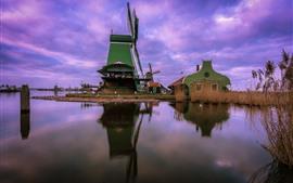 Moinho de vento, Holanda, rio, casa