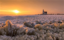Winter, snow, ice, sea, lighthouse, sunset