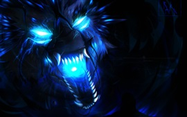 Preview wallpaper Wolf, blue flame, art picture