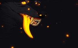 Preview wallpaper Wolf, mouth, teeth, tongue, night, art picture