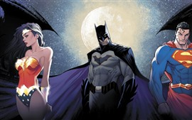 Preview wallpaper Wonder Woman, Batman, Superman, DC Comics, superhero