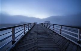 Preview wallpaper Wooden bridge, fog, river, morning