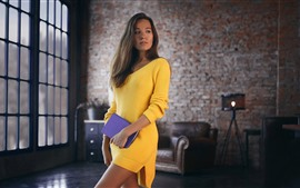 Preview wallpaper Yellow sweater skirt girl, look, notebook, room