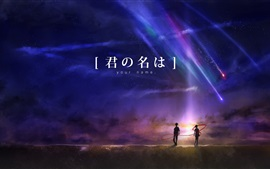 Preview wallpaper Your Name, anime movie, beautiful night, meteor