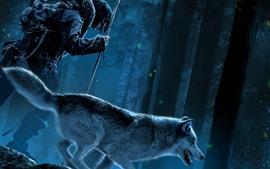Alfa, bosque, noche