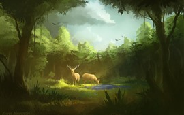 Preview wallpaper Art painting, forest, deer