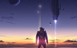 Preview wallpaper Art picture, astronaut, rocket, planet