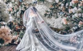 Preview wallpaper Asian girl, bride, white skirt